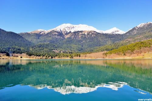 Lake Doxa and Mt Kyllini