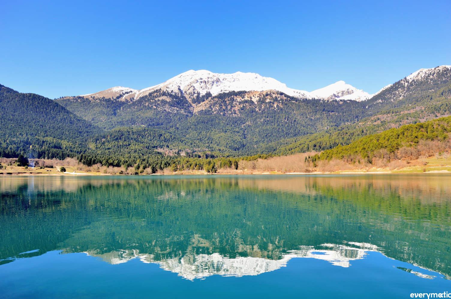 The man-made Lake Doxa, near Mt Kyllini, Peloponnese.
