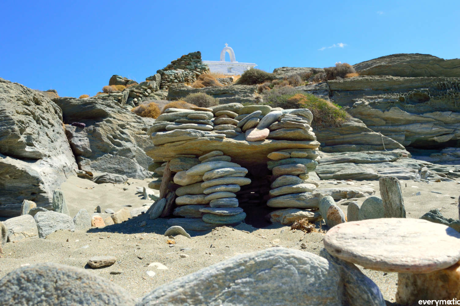 Sunbather's shrine on Fellou beach, Andros.