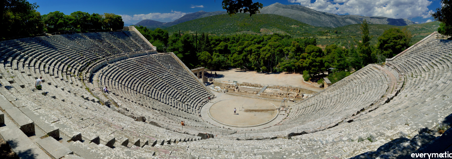 From the top of the 15,000 capacity 4th century theatre, which is still in use today.