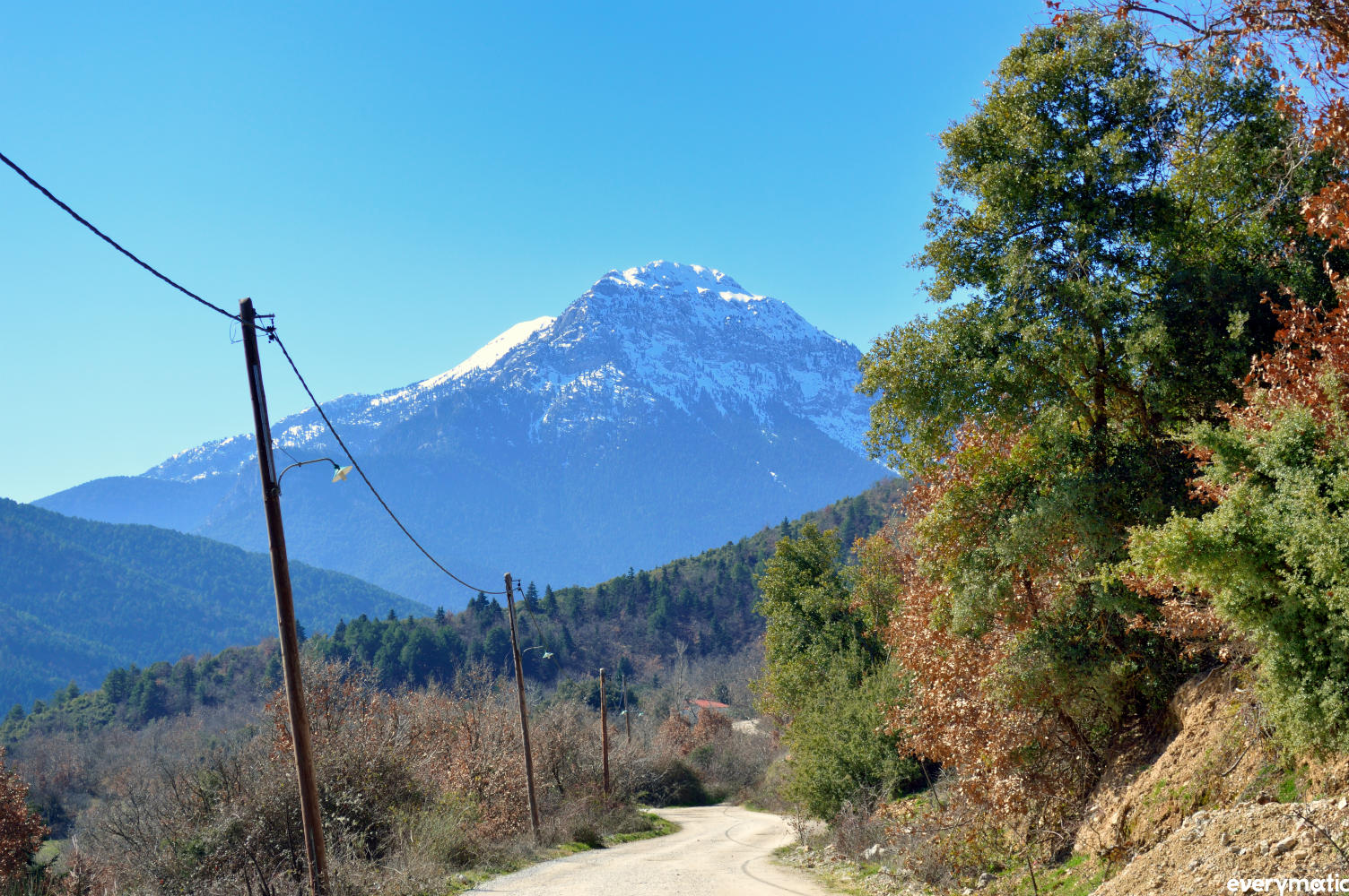 Snow-capped, in the Peloponnese near Goura.