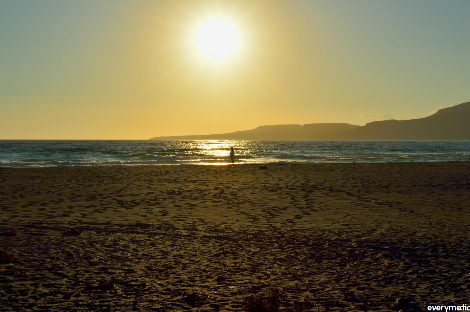 Swimming at dusk on Simos beach, Elafonossos.