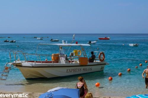 Boat to Milos beach, Agios Nikitas, Lefkada